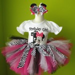 Flash Giveaway::. Black Pink Zebra Minnie Mouse Birthday Tutu Set